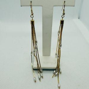Gold & Faux Pearl Dangling Tassel Earrings